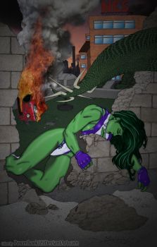 She-Hulk and City In Ruins by powerbook125