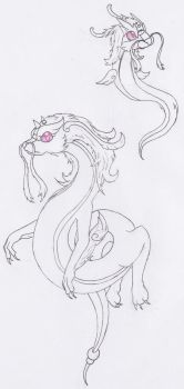 Dratiny and Dragonair (Amesthia Form)(not colored) by MentalyDraw