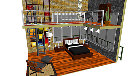 .::MMD Loft-like Bedroom Stage + DL::. by xXFrenchToastXx