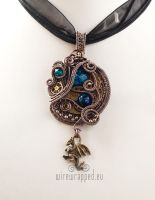 Steampunk pendant with a dragon charm II by ukapala