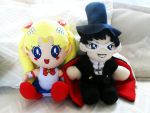 sailor moon and tuxedo mask plushies by Cyan-dg