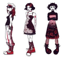 black and red girls by omppu