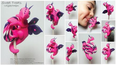 Sweet Treat - Lollypop Dragon Pink Dragon by lizzarddesigns
