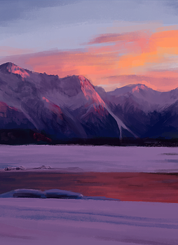 Sunset Mountains by Ettesore