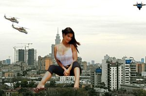 Giantess Denise Milani in Moscow by MAZ-629999