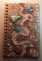 Clay covered Journal WIP Painted by MandarinMoon
