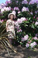 Mrs a* With Swags Of Flowering Rhododendron by aegiandyad