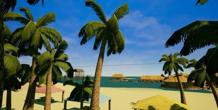 Palm trees by the beach by Pumpkin-Online