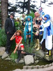 Vocaloid Group in the pond by cosplayluvx3