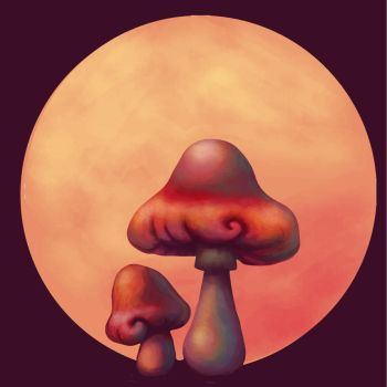 Mushrooms on the moonlight by angychan