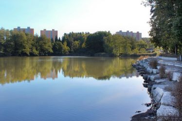 A little pond with city in background by Hrasulee
