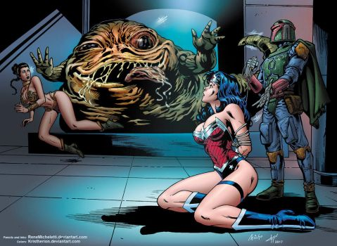 Wonder Woman And Jabba Colors Kristherion by ReneMicheletti