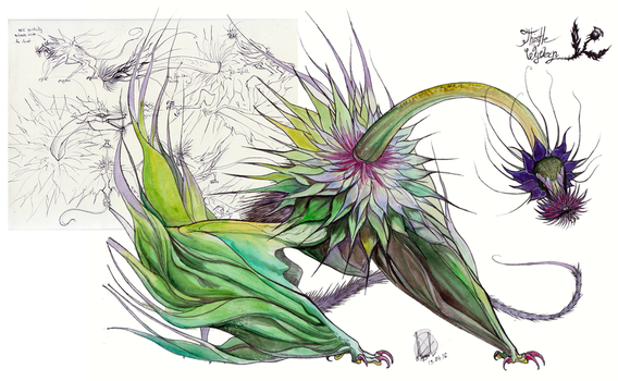 Creature auction: Thistle wyvern (CLOSED) by RayEtherna