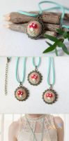Red Toadstool Necklace by BerryCraftyFox