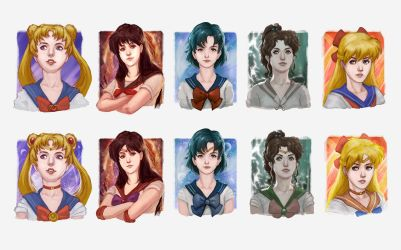 Sailor Moon Portraits by Gourmandhast