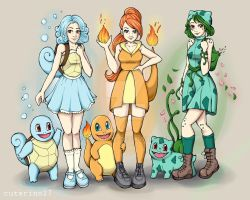 1st gen starters and gijinka by cuterino27