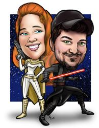 Color version Star Wars theme Cartoon portrait by mainasha