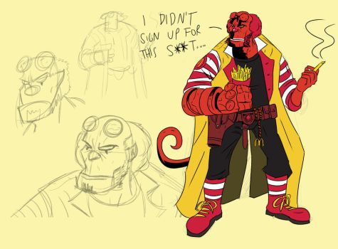 Hellboy/Ronald Mcdonald mashup by Kyber02