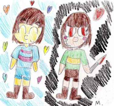 Frisk and Chara by ptitemouette