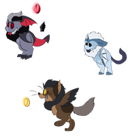 Supernatural beings themed Grittle adopts by TickTockPoptart