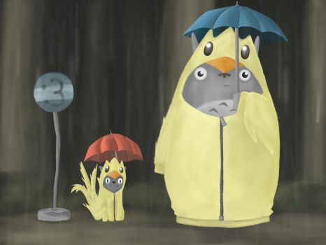 Chocobo cats in the rain by Eon24