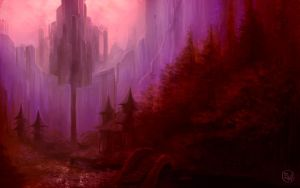 Red Forest Wall by zachlost