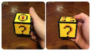 Mario Question Mark Cube Perler Bead by jnjfranklin