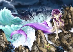 Mermaid on the Rocks by BSylphir