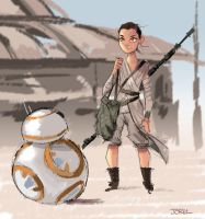 Rey and BB8 - The Force Awakens by DaveJorel