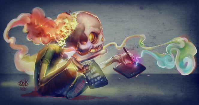 brain on fire (paint process) by thezork