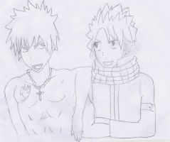 (Fairy tail)Gray Fulbaster and Natsu Dragneel by NikolaM11