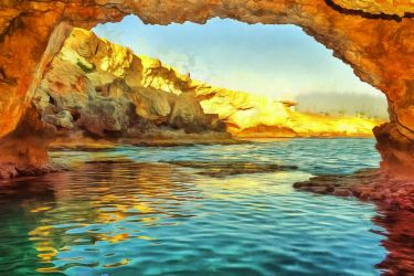 Sea Cave by oldhippieart