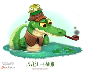 Daily Paint 1541. Investi-gator by Cryptid-Creations