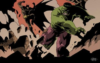 Batman vs Hulk by johnnymorbius