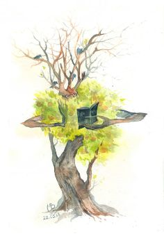 Watercolor sketch. A wise tree by Last-Valentine