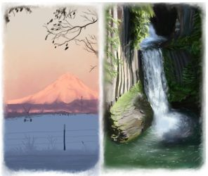 Mountain and Waterfall speedpaints by Joava