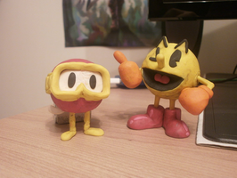 Pac-Man and Pooka Clay Models by FierceTheBandit