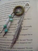 Silver Feather and Green Dreamcatcher Bookmark by TsalagiPhoenix