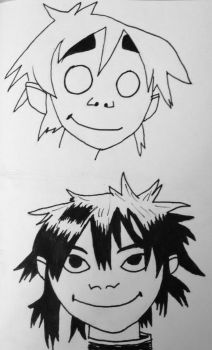 Inktober Day 7: 2D and Noodle by AirwaveLOL