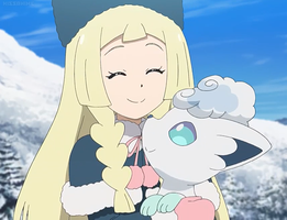 Lillie and Snowy Happy