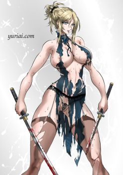 Nina Williams with a damaged dress by yuriai-dA