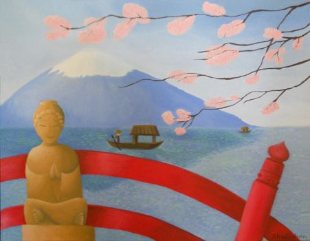 Fuji-san in Spring from over the Bridge by ShuliChan