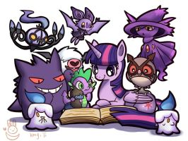 Twlight sparkle and spike with night pokemons by kongyi