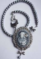Gray cameo pearl necklace by Pinkabsinthe