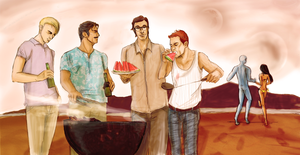 Summer BBQ... on Mars by radishface