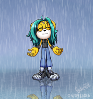 Haos enjoys the rain by lizathehedgehog