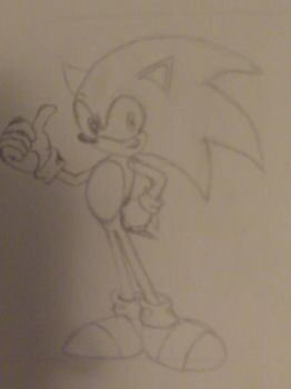 My First Drawing of Sonic the Hedgehog by 13iyondo