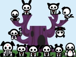 Skelanimals in a tree by hyper-yet-bored
