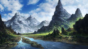 mountain river by Sketchbookuniverse