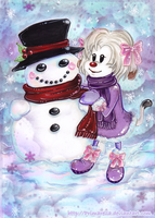 Contest Entry: Nias first Snowman by Primarella
